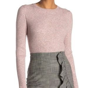 REBECCA TAYLOR Pink Ribbed Sweater Ruffle Sleeve